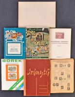 6 klf bélyeggyűjtéssel kapcsolatos szakirodalmi kiadvány + 1 régi üres bélyegfüzet