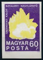 1969 Földtani intézet vágott 60f fekete színnyomat nélkül (40.000) / Mi 2521 imperforate, black colour print omitted (ráncok / creases)