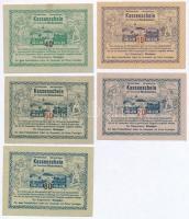Ausztria / Bischofstetten 1920. 10h-80h (5xklf) szükségpénz T:I- tűly. Austria / Bischofstetten 1920. 10 Heller - 80 Heller (5xdiff) necessity notes C:AU needle hole