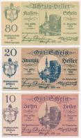 Ausztria / Mauthausen ~1918-1920. 10h + 50h + Pöchlarn 1920. 10h-80h (3xklf) szükségpénzek T:I-,II tűly. Austria ~1918-1920. 10 Heller + 50 Heller + Pöchlarn 1920. 10 Heller - 80 Heller (3xdiff) necessity notes C:AU,XF needle hole