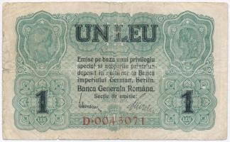 Románia / Német megszállás 1917. 1L T:III,III- apró ly., kis szakadás Romania / German Occupation 1917. 1 Leu C:F,VG tiny hole, small tear Krause M3