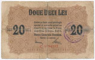 Románia / Német megszállás 1917. 20L felülbélyegzéssel T:III-,IV ragasztott Romania / German occupation 1917. 20 Lei C:VG,G sticked Krause M6