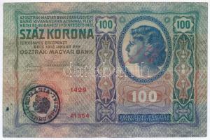 1912. 100K román felülbélyegzéssel T:III