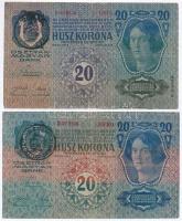 1913. 20K (2x) első és második kiadás, mindkettőn román felülbélyegzés T:III kis szakadás
