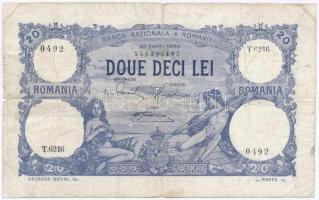 Románia 1926. 20L T:III,III- ragasztott, ly. Romania 1926. 20 Lei C:F,VG sticked, hole Krause 20