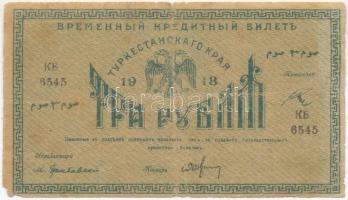 Orosz Polgárháború / Orosz Közép-Ázsia / Turkesztán 1918. 3R T:III- Russian Civil War / Russian Central Asia / Turkestan 1918. 3 Rubles C:VG Krause S1152