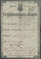 1864 Szombathely, Német és magyar nyelvű igazolási jegy Vas megye címerével / ID