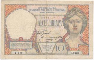 Szerb-Horvát-Szlovén Királyság 1926. 10D T:III Kingdom of the Serbs, Croats and Slovenes 1926. 10 Dinara C:F Krause 25