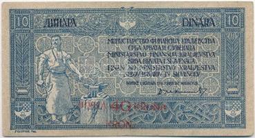 Szerb-Horvát-Szlovén Királyság 1919. 10D 40K felülbélyegzéssel T:III Kingdom of the Serbs, Croats and Slovenes 1919. 10 Dinara with 40 Kronen overprint C:F Krause 17