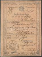 1860 Német és magyar nyelvű igazolási jegy 15 kr okmánybélyeggel / ID