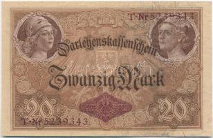 Német Birodalom 1914. 20M hét jegyű sorszámmal T:II German Empire 1914. 20 Mark with seven digit serial C:XF Krause 48