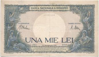 Románia 1941. 1000L T:III kis szakadás Romania 1941. 1000 Lei C:F small tear Krause 52
