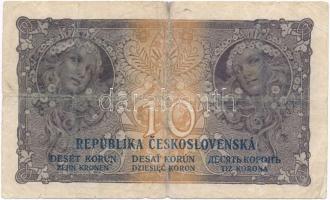 Csehszlovákia 1919. 10K T:III- ly., ragasztott Czechoslovakia 1919. 10 Korun C:VG hole, sticked Krause 8