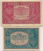 Lengyelország 1919. 1M + 1920. 1/2M T:III Poland 1919. 1 Marka + 1/2 Marki C:F Krause 23; 30