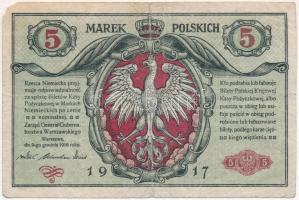 Lengyelország / Német megszállás 1917. 5M T:III kis szakadás, sarokhiány Poland / German occupation 1917. 5 Marek C:F small tear, missing corner Krause 11