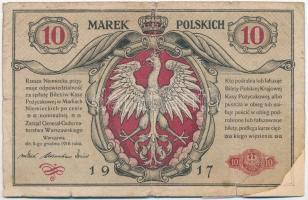 Lengyelország / Német megszállás 1917. 10M T:III- ly., szakadás, részben restaurált Poland / German occupation 1917. 10 Marek C:VG hole, tear, partially restored Krause 13
