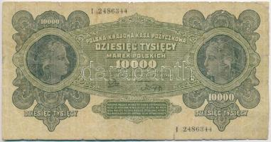 Lengyelország 1922. 10.000M T:III- ly., szakadás, ragasztónyom Poland 1922. 10.000 Marek C:VG hole, tear, gluemark Krause 32