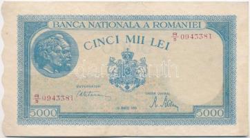 Románia 1945. 5000L T:II-,III kis szakadás Romania 1945. 5000 Lei C:VF,F small tear Krause 56