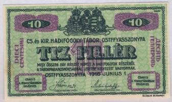 Ostffyasszonyfa / hadifogolytábor 1916. június 1. 10f arab sorozat- és sorszámmal T:II