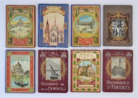 cca 1900 8 db olasz leporelló könyv (Róma, Nápoly, Velence, Padova, Milánó), példányonként változó, nagyrészt jó állapotban