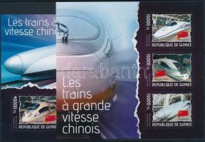 Chinese high-speed trains minisheet + block, Kínai nagy sebességű vonatok kisív + blokk