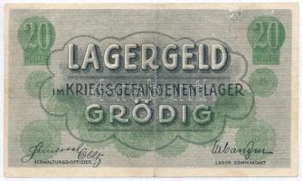 Ausztria / Grödig / hadifogolytábor ~1915. 20h T:II-,III ragasztónyom Austria / Grödig / POW camp ~1915. 20 Heller C:VF,F gluemark