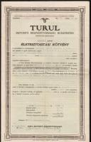 Budapest 1921. Turul Biztositó Részvénytársaság Budapesten életbiztosítási kötvénye, kiegészítő függelékkel T:III,III- ly.