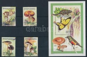 Madagaszkár 1998 Gomba, pillangó 4 klf bélyeg + blokk