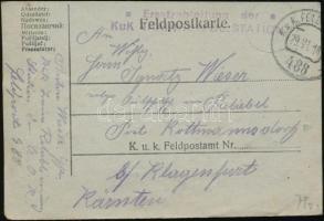 1918 Tábori posta levelezőlap Ersatzabteilung der KuK TRAINRETABL. STATION + FP 488