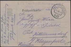 1918 Tábori posta levelezőlap K.u.k. Train-Retabl.-Station des A.O.K. ERSATZ ABTEILUNG + FP 488