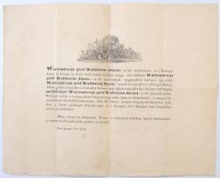 1845 Wartembergi gróf Waldstein József aranykulcsos kamarás halotti értesítője
