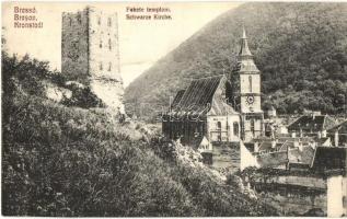 Brassó, Kronstadt, Brasov; Fekete templom és torony / church, tower (EK)