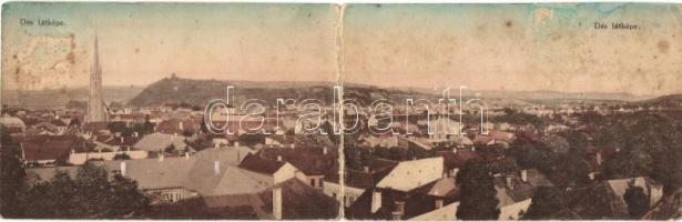 Dés, Dej; Látkép, kihajtható panorámalap, Goldstein J. kiadása / general view, folding panoramacard (hajtásnál szakadt / bent til broken)