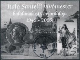 2005/7 Italo Santelli vívómester emlékív feketenyomat alkalmi francia nyelvű bélyegzéssel