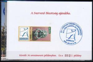 2009/U-23 10. Veterán Vívó EB Balatonfüred 5 db-os emlékív garnitúra azonos sorszámmal