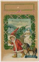 Boldog karácsonyi ünnepeket! / Christmas greeting postcard, child as Saint Nicholas, toys, golden decorated Emb. litho (EK)