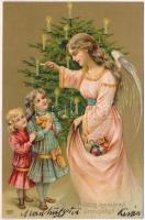 Boldog karácsonyi ünnepeket! / Christmas greeting card, angel with toys, children, christmas tree, EAS, Emb. litho