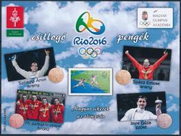 2016 Csillogó pengék, Rio 2016 emlékív piros sorszámmal, hátoldalán alkalmi bélyegzéssel