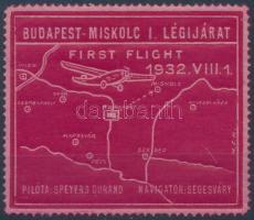 1932 Budapest-Miskolc első légi járat levélzáró
