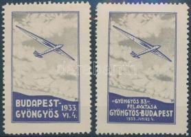 1933 Budapest-Gyöngyös 2 db klf légiposta levélzáró R!
