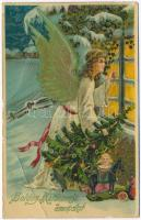 Boldog Karácsonyi Ünnepeket! / Christmas greeting card, angel with Christmas tree and toys, Emb. litho (EB)