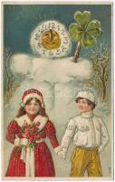 Boldog Új Évet! / New Years greeting card, snowman, clover, couple, golden decorated Emb. litho