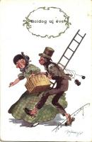 Boldog Új Évet! / New Years greeting card, chimney sweeper, lady, humour, B. K. W. I. 2503-1 s: Schönpflug (kis szakadás / small tear)