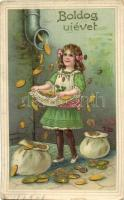 Boldog Új Évet! / New Years greeting card, child, money rain, golden decorated litho (EK)