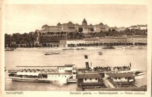 Budapest I. Királyi vár (Nemzeti Palota), SS Ferenc Ferdinánd gőzhajó, Rigler kiadása (EK)