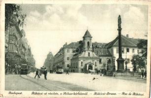 Budapest VIII. Rákóczi út, Rókus-kórház, templom, villamos (EB)