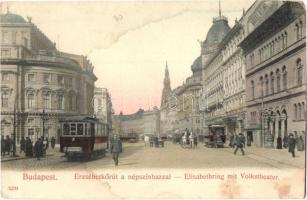 Budapest VIII. Erzsébet körút, Népszínház, Technológiai Iparmúzeum, Hotel Rémi; Taussig A. kiadása (EM)