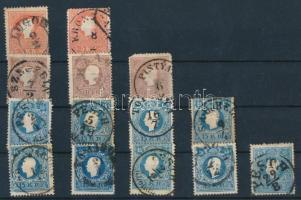 1858 14 db bélyeg olvasható bélyegzésekkel