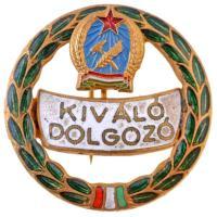 ~1950. Kiváló Dolgozó zománcozott fém jelvény, Rákosi-címerrel (26mm) T:2