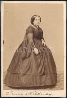 cca 1860 Jenny Mildmay vizitkártya méretű, feliratozott fotója, 6,5x9,5 cm